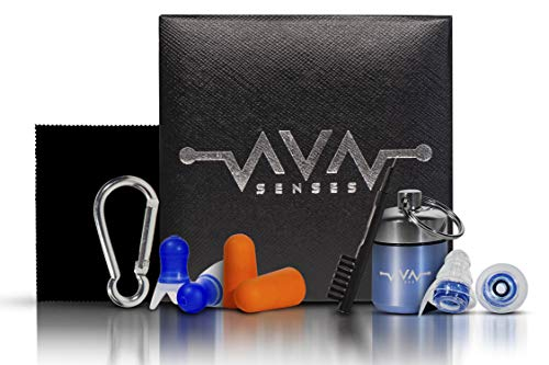 High Fidelity Ear Plugs for Concert, Airplane Earplugs and Sleeping Foam Buds Set – Made for Medium Ear Canals – 27 Decibels Sound Filtering Earbuds Providing High Fidelity Sound at Safe Levels by Ava Senses