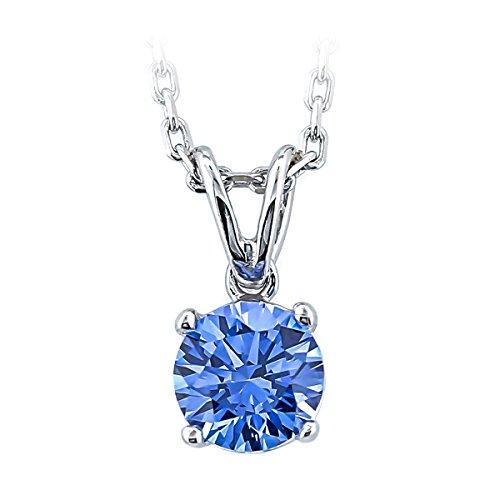 Classic elegance, chic yet simple 1 Carat brilliant cut 'Fancy Blue' authentic Swarovski Zirconia solitaire necklace. Shiny 18