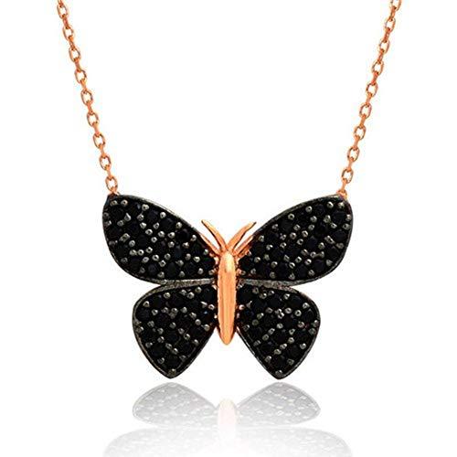 mysilverworld Solid 925 Sterling Silver Black Onyx Stone Butterfly Necklace