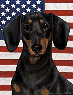 Dachshund B/T   Best Of Breed Patriotic II Garden Flags