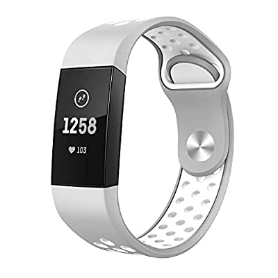 TSAAGAN Compatible Fitbit Charge 3 Bands, Replacement Accessory Breathable Sport Wristband Compatible for Fitbit Charge 3/ Charge 3 SE Fitness Tracker Large Small