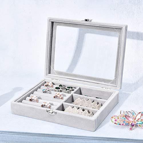 NXhome Jewelry Box Girls Jewelry Organizer Mirrored Mini Travel Case Lockable Beads, Rings, Earrings Storage Display Cases (Gray)