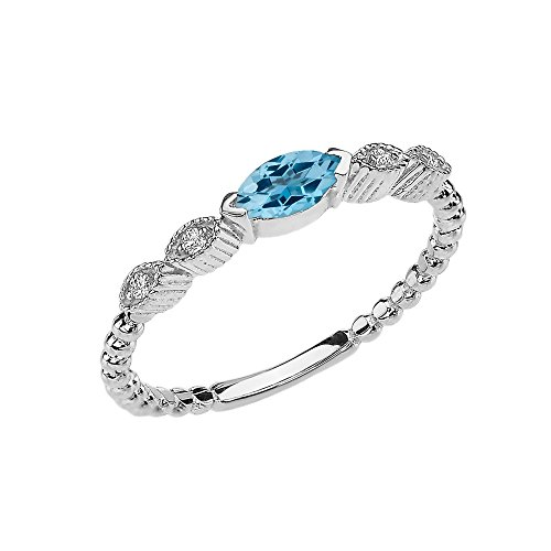 10k White Gold Marquise Cut Engagement/Proposal Diamond Ring With Genuine Blue Topaz Center Stone (Size 5.5) (Topaz Marquise Ring)