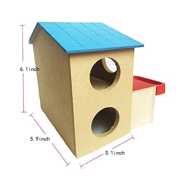 kathson Pet Small Animal Hideout Hamster House with Funny Climbing Ladder Deluxe Two Layers Wooden Hut Play Toys Chews for Small Animals Like Dwarf Hamster and Mouse 5