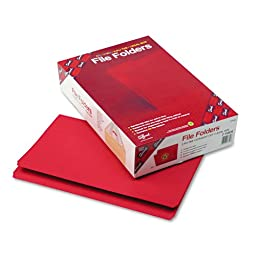 File Folders, Straight Cut, Reinforced Top Tab, Legal, Red, 100/Box, Sold as 1 Box