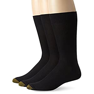 Gold Toe Men's Cotton Metropolitan Dress Sock 3 Pack, Black, 10-13 (Shoe Size 6-12.5)