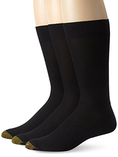 Gold Toe Men's Cotton Metropolitan Dress Sock 3 Pack, Black, 10-13 (Shoe Size 6-12.5) (Gold Socks Toe Cotton)