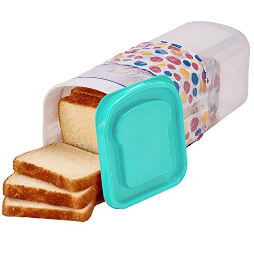 - Buddeez Bread Container - Plastic Storage Keeper, Loaf, Aqua Lid