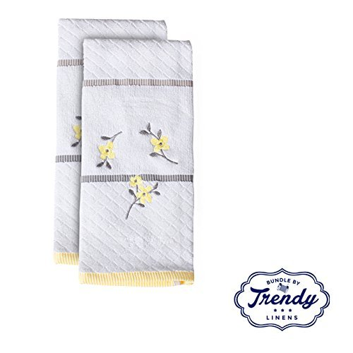 - Spring Garden Embroidered White Hand Towels - Bathroom Shower Collection - Set of 2 Hand Towels - Exclusive Towel Set by Trendy Linens