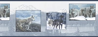 Brewster 145B44328 Northwoods Lodge Wolf Pack Blue Wolf Border Wallpaper