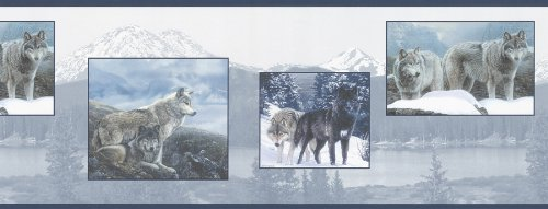 Brewster 145B44328 Northwoods Lodge Wolf Pack Blue Wolf Border ()