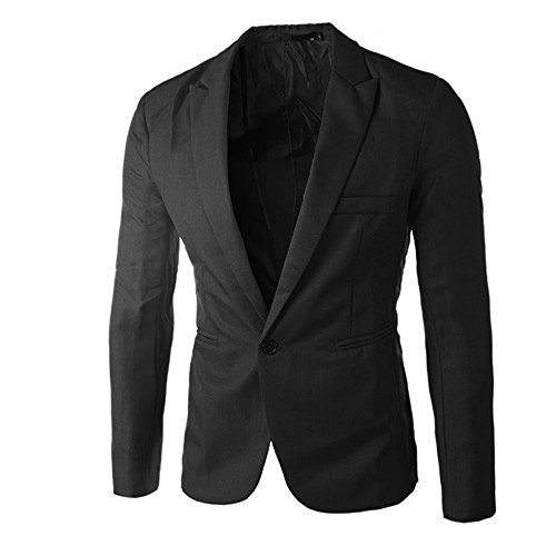 GOVOW Suits for Men Classic Fit Charm Casual Loose Soft Slim One Button Blazer Coat Jacket Tops(M,Black) from GOVOW