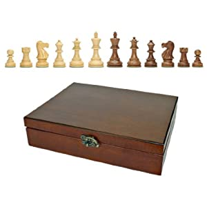 "English Staunton Wood Tournament Chess Pieces, Heavy Weighted with Deluxe Wooden Treasure Box - 3 1/2"" King"