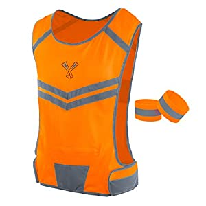 247 Viz The Reflective Vest with Inside Pocket & 2 High Visibility Running Safety Bands