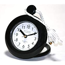 Our Black Bathroom Shower Rope Clock with a Clear Easy to Read Clock face is Water-Resistant and Engineered with a Superior Quartz Movement and Turning Second Hand for Accurate timekeeping
