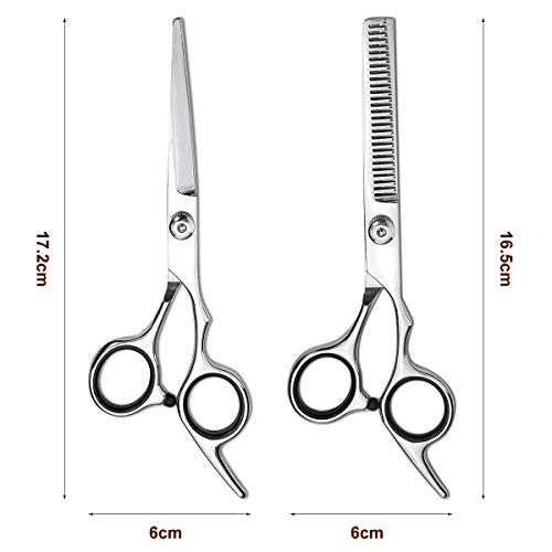 Hair Cutting Scissors Kit, Liaboe Professional 6Pcs Hairdressing Shears Set, with Hair Cutting Scissors, Thinning Shears, Hair Comb, Clips, Cleaning Cloth, Leather Bag, for Home/Salon (Sliver)
