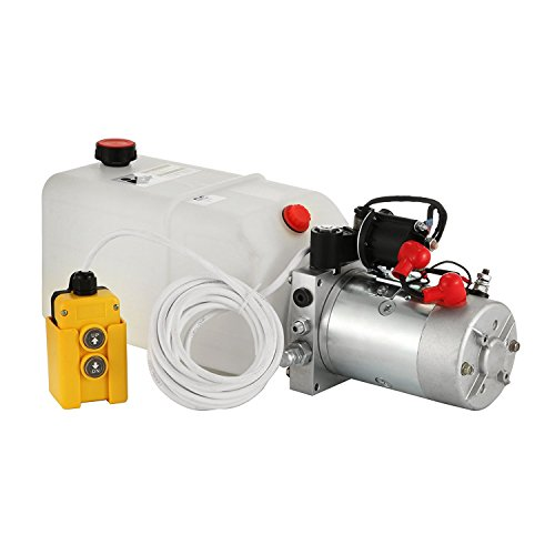 Mophorn 6 Quart 12V Hydraulic Pump Dump Trailer Power Unit (Plastic, 6 Quart/Double Acting)