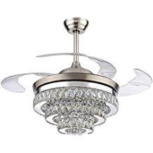 RS Lighting European Crystal Ceiling Fan-42 inch with Retractable Four Blades and Remote Control Silent Fan Chandelier for Indoor Living Bedroom-Chrome