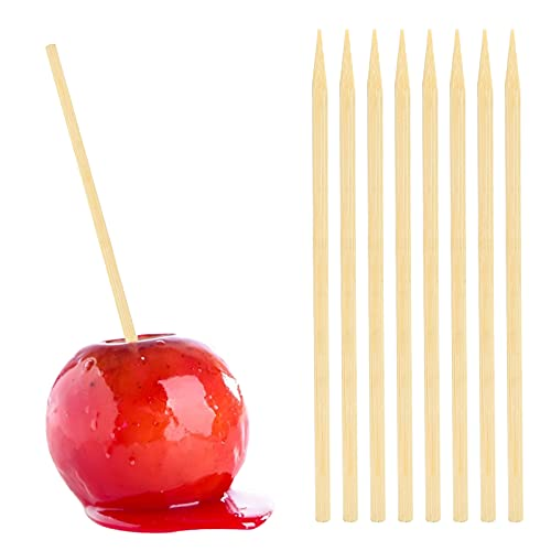 HANSGO Wooden Candy Apple Skewer Sticks, 5mm 6.25inch Birch Bamboo BBQ Caramel Apple Sticks Cotton Candy Stick Rock Candy Stick Skewer Semi Pointed Lollipop Sticks Barbecue Corn Dog