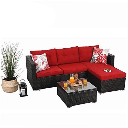 PHI VILLA 3-Piece Outdoor Rattan Sectional Sofa- Patio Wicker Furniture Set (red)