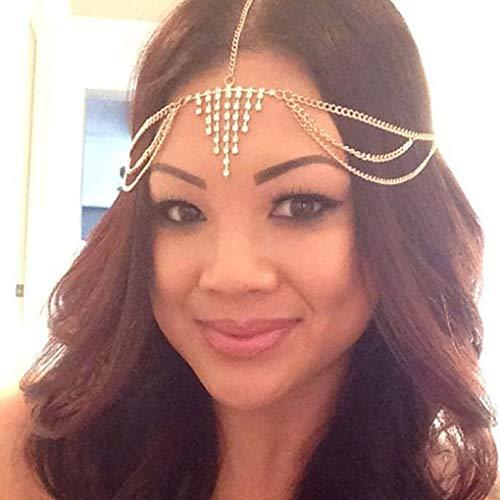 Leiorthrix Boho Crystal Head Chain Gold Belly Dance Drape Hair Jewelry Layered Cleopatra Headpiece Headdress Wedding Hair Accessories ()