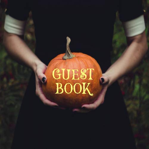 Guest Book: Gothic Halloween Sign in Book - Orange & Black Goth Girl with Pumpkin Keepsake Guestbook for Halloween Themed Wedding, Costume Party, Baby ... Message, Lines for Email, Name
