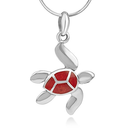 925 Sterling Silver Red Sea Bamboo Coral Inlay Sea Turtle Pendant Necklace for Women, 18