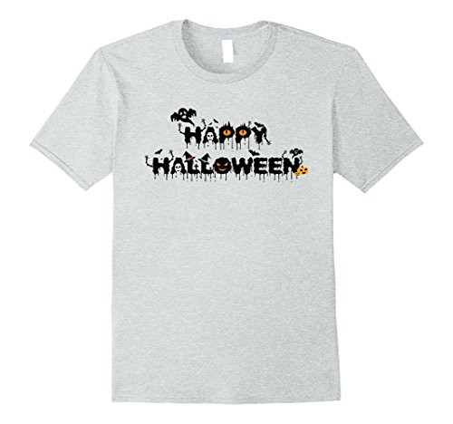 Mens Pumpkin Happy Halloween Night Party T-Shirt XL Heather Grey