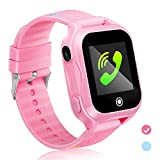 GUANLV Kids Smartwatch Kids Smart Watch Phone with Waterproof and App Remote Control Unlocked Kids SmartWatches Phone with Voice Chat Touch Screen Camera Compatible with Android and iOS (Pink)
