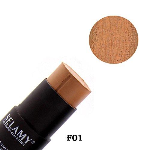 Foundation Makeup Full Cover Contour Face Concealer Base Primer Moisturizer Hide Blemish Bronzer Concealer Stick (Cover Maybelline Ivory Concealer Stick)
