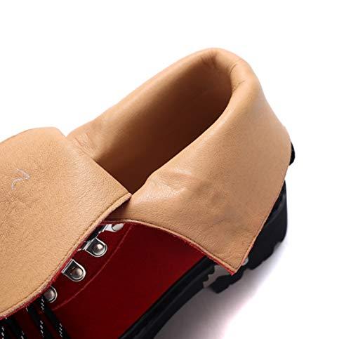 à Rouge Haute Talons pour Bottines Bottines épais Bottes LIANGXIE imperméables de Style de randonnée en Femmes la Bottes dépoli Cuir à Cheville Britannique pw8qx