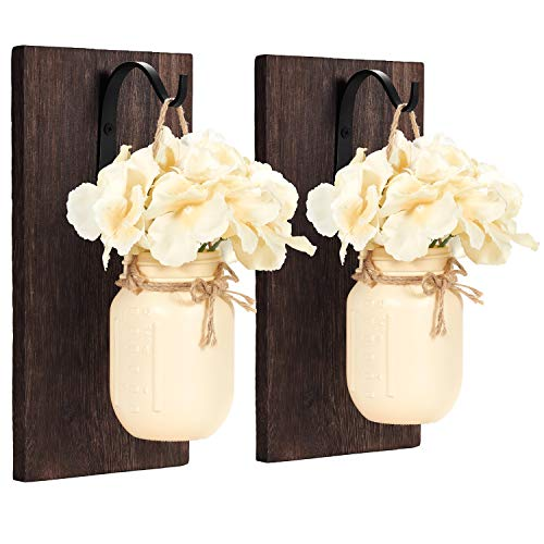 Mkono Mason Jar Sconces Wall Decor Rustic Wall Sconces Set Wood Boards with Hydrangea Flower Wall Art Vintage Home Fall Decor,Cream Yellow (Set of 2)
