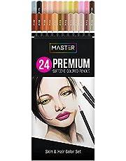ماستر 24 قلم رصاص ملون، مجموعة ألوان ناعمة نابضة بالحياة بجودة احترافية للفنانين - مختلط، ظلال، طبقة
