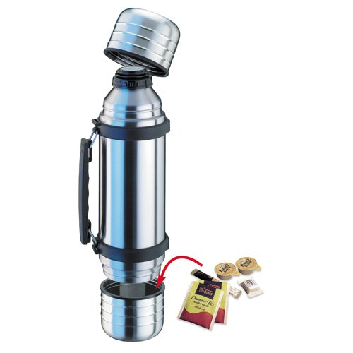 18//8 Stainless Steel Isosteel VA-9562DQ 1.0 L Duo Vacuum-Insulated Flask with Quickstop Single-Hand Pouring System and 2 Screw-Off Drinking Cups