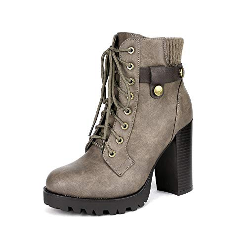DREAM PAIRS Women's SCANDL Khaki High Heel Ankle Bootie Size 7.5 B(M) US