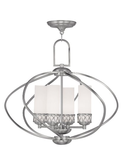 (Livex Lighting 4724-91 Westfield 4-Light Chandelier, Brushed Nickel)