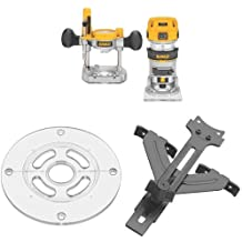 DEWALT DWP611PK 1.25 HP Max Torque Variable Speed Compact Router Combo Kit with LED's w/ DNP613 Round Sub Base and DNP618 Edge Guide