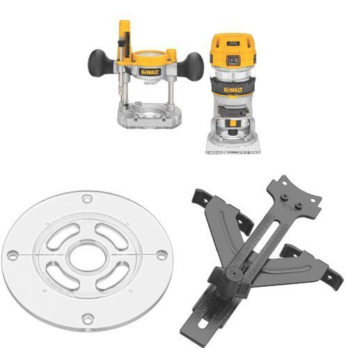 DEWALT DWP611PK 1.25 HP Max Torque Variable Speed Compact Router Combo Kit with LEDs w/ DNP613 Round Sub Base and DNP618 Edge Guide