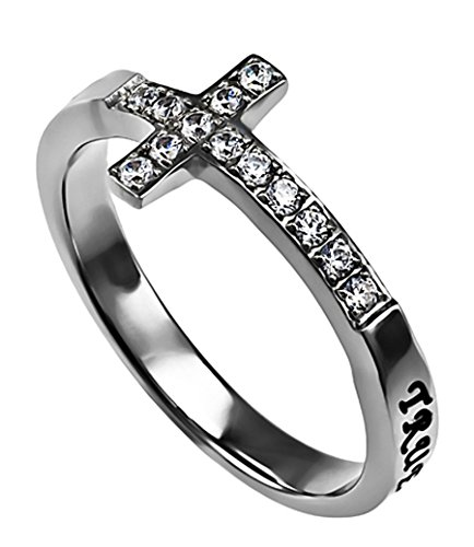(True Love Waits Ring Sideways Cross Purity, Christian Chastity Ceremony, Stainless Steel (9))