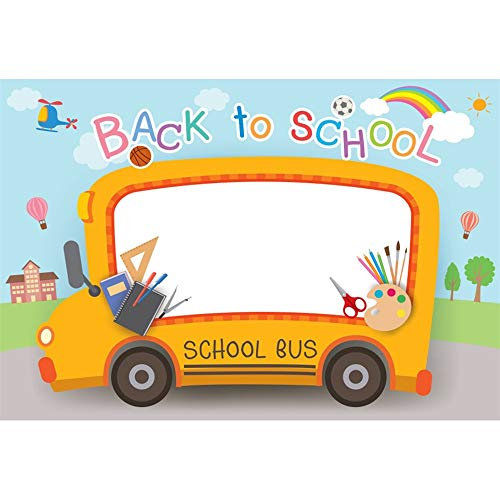 - Leyiyi 7x5ft Cartoon Back to School Backdrop Orange School Bus Football Drawing Board Airplane Rainbow Sun Hot Air Balloon Boys Girls Photos Digital Video Studio Props