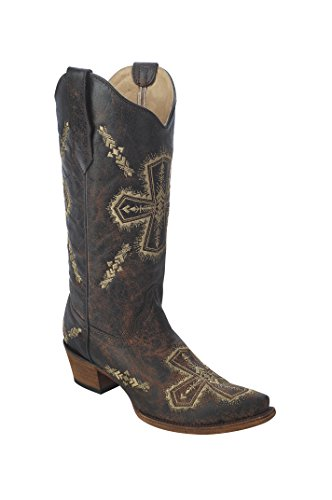 Corral Women's Circle G Crackle/Bone Cross Embroidery Square Toe Western Boots Brown (Corral Boots Women Cross)