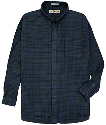 Foxfire 100% Cotton Flannel Shirt Navy/Green Plaids #475E 4XLT - Foxfire Long Sleeve Button