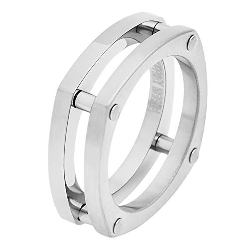 Geoffrey Beene Men's Comfort Fit Bike Chain Stainless Steel Ring, Silver