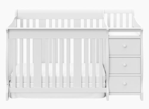 Storkcraft Portofino 4 in 1 Fixed Side Convertible Crib Changer, White, Easily Converts to Toddler Bed Day Bed or Full Bed, Three Position Adjustable Height Mattress (Mattress Not - Changer Combo