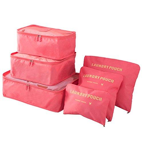 Tukistore 6Pcs/Set Custodia da viaggio Abbigliamento Tidy Bag Custodia da viaggio per organizer, Custodia da viaggio, Custodia da viaggio Anguria rossa