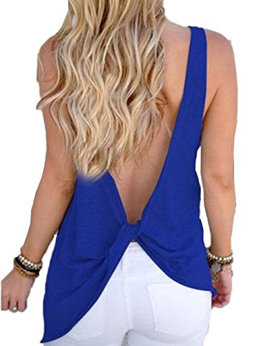 Knot Back Top - Famulily Women's Sexy Sleeveless Open Back Shirt Knotted Tank Top (Medium, Blue)