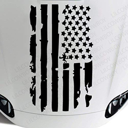 Boilipoint 1Set Universal Distressed USA Flag Hood Vinyl Sticker Decal - Fits Any Hood 40
