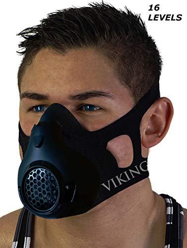 Vikingstrength Training Workout Mask for Running Biking MMA Endurance with Adjustable Resistance, High Altitude Elevation Mask for Air Resistance Training [16 Breathing Levels] (Improved Design)