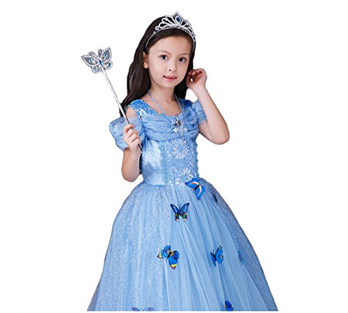 BlueSpace Girls' Princess Dress with Butterfly Halloween Birthday Party Costumes, L