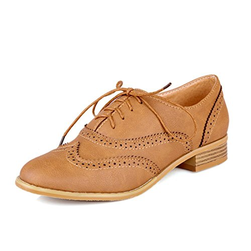 Susanny Women Classic Modern Sweet Low Heel Lace Up Carving Wingtip PU Yellow Brogue Oxfords Dress Shoes 7 B (M) US